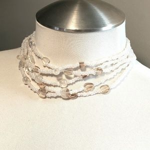 Off-white Simulated Pearl and Glass Necklace